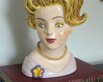 Blonde bombshell, Large vintage ladies head vase, Vintage Head Vase with Faux Pearl Necklace, Lady head planter