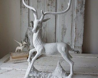 Large buck statue French Nordic white painted male deer sculpture heavy brass tall artistic distressed style home decor anita spero design