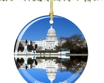 US Capitol Christmas Ornament in Porcelain, Washington DC Christmas Ornaments Collection