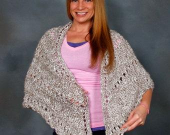Shawl; Triangle Knit Shawl, Lacey Hand Knit Wrap, Comfort Shawl, Prayer Shawl - CLOUDS; light and medium greys