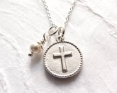 First Communion Gift, Cross Medallion Necklace, Cross with Pearl, Confirmation Gift for Girl, Religious Jewelry, Cross Necklace, Handmade
