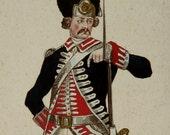 1852 Antique print of a NAPOLEONIC ERA SOLDIER. Militaria. 164 years old gorgeous engraving.