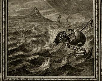 1735 Antique fantastic copper engraving of an OCEAN STORM. Sea Storm. Meteorology. Seastorm. 280 years old print