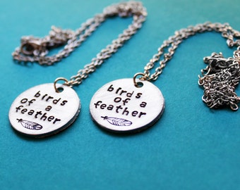 Best Friend Necklaces, Birds of a Feather Flock Together Necklace Set, Feathers, Sister Jewelry, Little sister and Big sister, Friendship