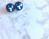 Blue Deer Head Post Earrings