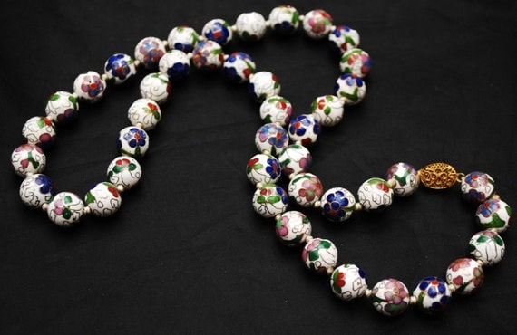 Cloisonne  Bead Necklace - White Blue Green purple gold Enameling - flower - Hand knotted - floral beads