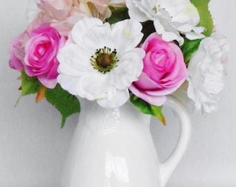 Silk Flower Arrangement, Pink Roses, White Anemones, Pink Hydrangea, White Vase, Artificial Flower Arrangement, Silk Floral Decor, Decor,