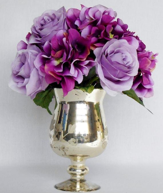 Artificial Flower Arrangement Light Purple Roses Purple
