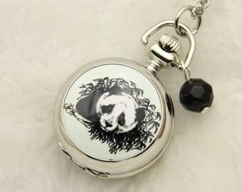 Necklace Pocket watch vintage panda 2222m