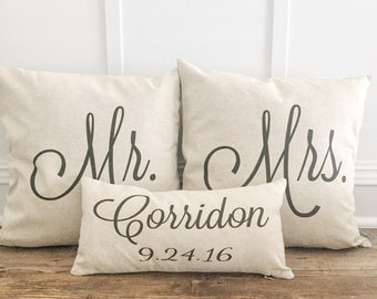 Mr. & Mrs. Custom Pillow Covers with Name and Wedding Date