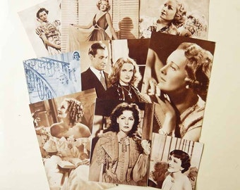 1930s Women Film Stars, Vintage Paper Ephemera for craft, collage, scrapbooking