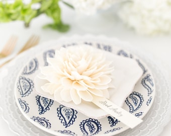 Wooden Flower Place Cards, Cream Place Cards, Escort Cards, Bridal Shower Place Cards, Dinner Party Place Cards