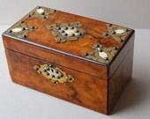 Antique walnut box with bone and brass mounts Jewelry box Keepsake box Wooden casket Antique tea caddy