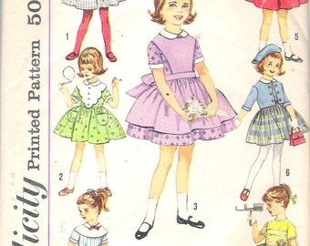"""Vintage 1961 Simplicity 4058 Child's Seven Day Wardrobe Sewing Pattern Size 6 Breast 24"""""""