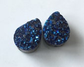 Rainbow Blue Titanium Mystic Coated Teardrop Druzy Beads, Set of 2