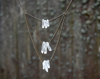 Layered Quartz Crystal Necklace- long bronze chain necklace bib statement piece with clear quartz crystal layers