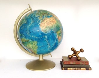 "Vintage Globe, Rand McNally Portrait Globe, 12"" Globe with Metal Stand, Bright Colors, Midcentury Blue Ocean Globe, Brass Tone Base Globe"