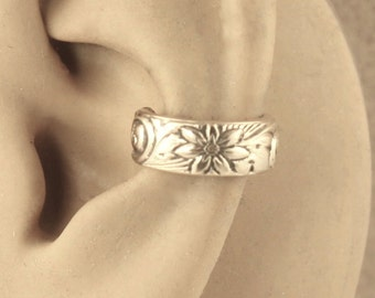Wide Ear Cuff - Cartilage Cuff - 14 KT Gold Filled - Ear Wrap - Non Pierced - Cartilage Earring - Gift Under 15 - Daisy Floral Swirl