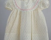 Vintage Girls Pink and White Rosebud Print Dress with Rick Rack Trim- size 12 months- New, never worn