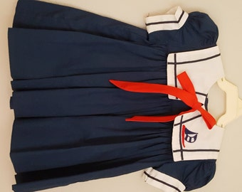 Vintage  Girls Navy Blue Sailor Dress with White Collar and Sailboat - Size 12 months- New, never worn