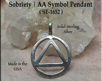 Sterling Silver Alcoholics Anonymous Necklace, AA Symbol Pendant, Recovery Jewelry, .925 Silver AA Jewelry SE-1652