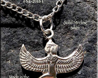 Sterling Silver Isis Charm, .925 Silver Winged Isis Necklace, Egyptian Jewelry, Goddess Jewelry, Genuine Silver Isis Jewelry - SE-2015