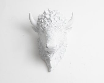 Small Bison Head Wall Mount, The SMALL Mellby - SMall White Resin Bison Head- Buffalo Resin by White Faux Taxidermy