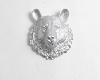 The Hector - Silver Mini Resin Bear Head- Resin White Faux Taxidermy- Chic & Trendy
