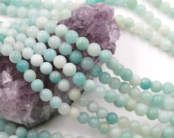 Lot of 5 strands 6mm Blue Amazonite (N) Loose Spacer Beads Round 15.5 inch strand (BD5926)