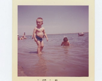 Vintage Snapshot Photo: Children Playing in Water, 1963 (69499)