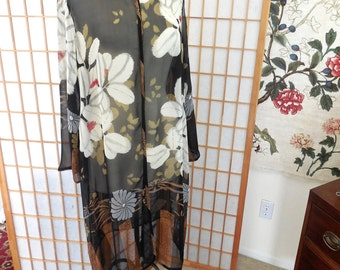 Vintage Sheer Silk Overcoat with Mandarin Collar in Large Floral Print by Harari