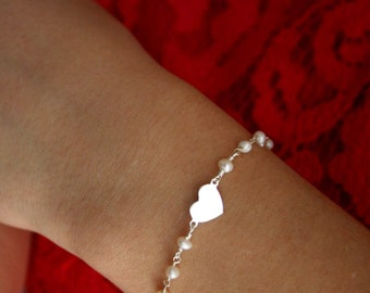 YOUNG collection-925 Sterling silver bracelet, heart link, freshwater pearls rosary chain