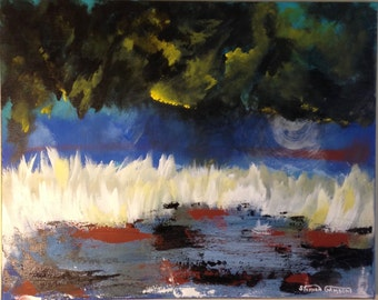 """Original - """"Into the Night ABSTRACT"""" - Original Fusion ART abstract ---- size   """"16 X 20""""  Acrylic on canvas (17-4060)"""
