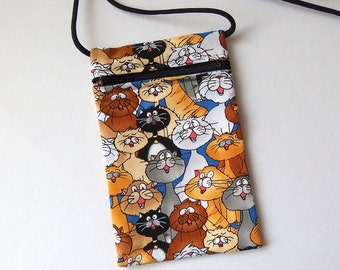 Pouch Zip Bag CAT Fabric - great for walkers, markets, travel. Cell Phone Pouch. Small fabric Purse. Cross Body bag. cat bag 6.75x4.25""