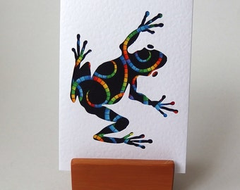 "Bright Frog Fabric Card -  6"" x 4"" white Textured blank with envelope.  Funky Frog. Handmade Cards. Hop hop.  Rainbow frog on black"