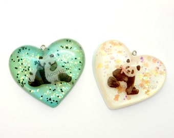 Panda Heart Pendants