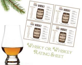 Whiskey Tasting - Whiskey Rating - Whiskey Score Card - Whiskey Party - Whiskey Printable - Whisky Rating - Whisky Printable