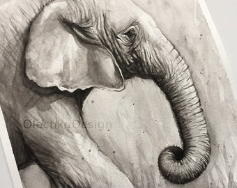 Elephant Watercolor Painting, Original Artwork, Black and White Animal Art, Elephant Painting, Elephant Portrait, Nursery Art, 9x12