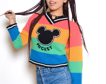 Vintage 90's RAINBOW Mickey Mouse Cropped Knit Sweater Sz S