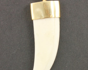 Bone Pendant, Bone Antler Pendant, Bone Antler Charm, Bone Tusk, Tusk Pendant, Bone Charm, Bone Connector, Gold plated bail.  (HRN-4003)