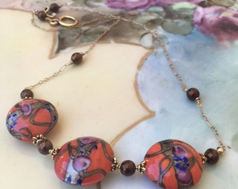 Gorgeous Venetian Murano glass burnt orange Fiorato bead necklace brown sable beads , lamp work wedding cake bead necklace,old world style