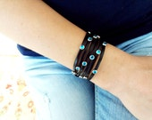 Leather wrap bracelet, studded wrap bracelet, turquoise wrap bracelet, besft frind birthday gift, gifts for women, black leather jewelry