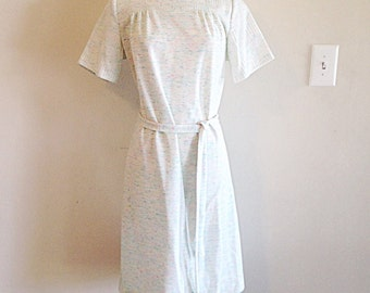 Vintage 1970s Speckle Colorful White Shift Dress