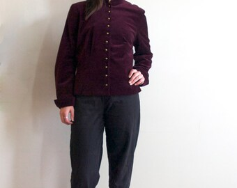 Vintage 1970's Maroon Purple Velvet Military Mandarin Jacket/Blazer Size Small