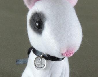 """Bull terrier dogstuffie, handmade, fleece, doll miniature, 4.5"""" high, black and white, stocking stuffer"""