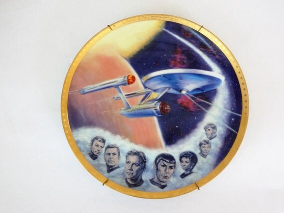 Star Trek Plate Vintage Collectible Uss Enterprise Ship