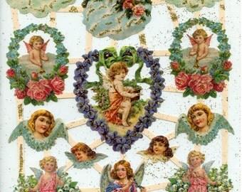 Angel SCRAP RELIEFS, Die Cut Angels, GOLD Glittered Scrap Reliefs, Victorian Christmas, Paper Angels, Victorian Angels, Glittered Angels