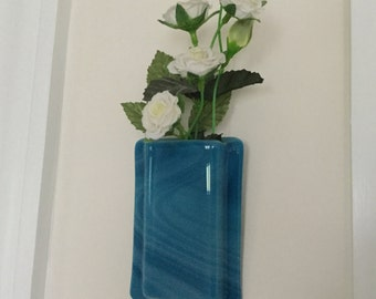 Fused Glass Pocket Vase, Blue Swirly Glass Wall Vase, Home Decor