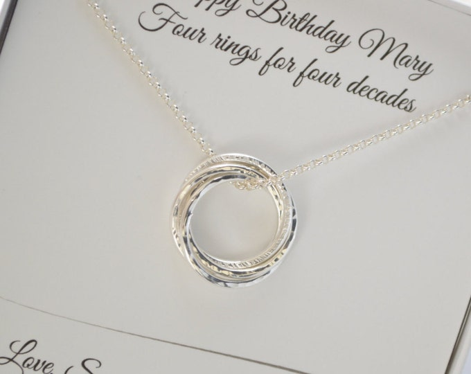 40th Birthday gift forwomen, 4 sisters necklace, 4 Best friend necklace, 4 Interlocked rings necklace, 40th Birthday gifts for her, Sister
