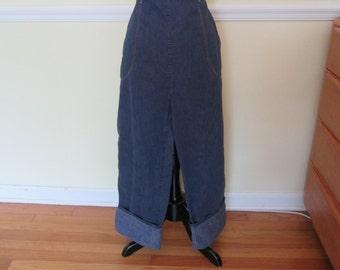 "Rustic Vintage 1940s 40s Indigo Denim Jeans -High Waist-Side Zipper-Waist 31"" 34""- Western-Hillbilly-Rockabilly-Cowgirl-Hot Rod-Motorcycle"